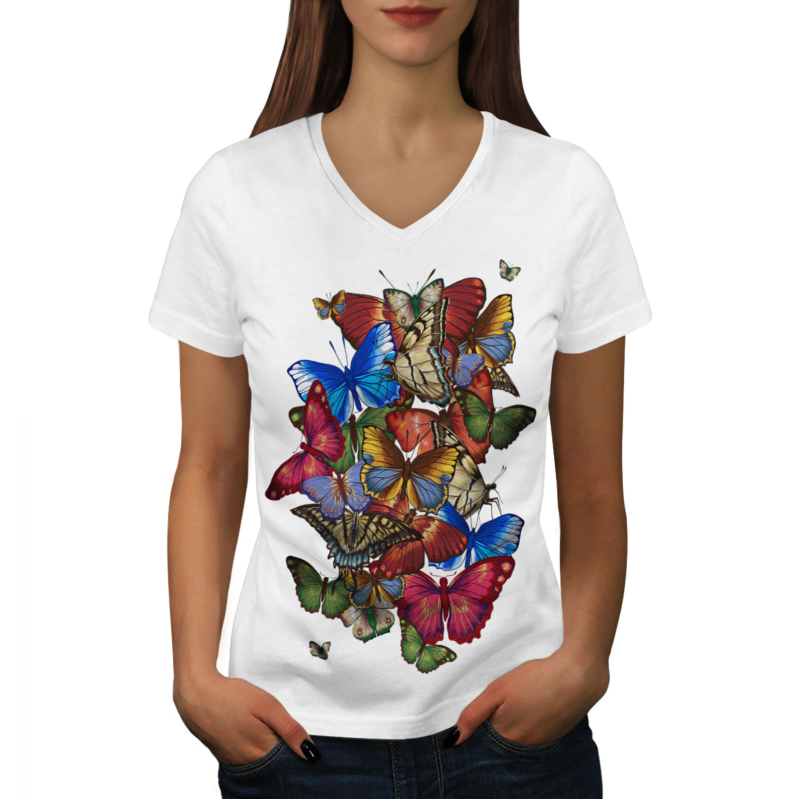 Wellcoda-Colorful-Butterfly-Womens-V-Neck-T-shirt-Freedom-Graphic-Design-Tee thumbnail 7