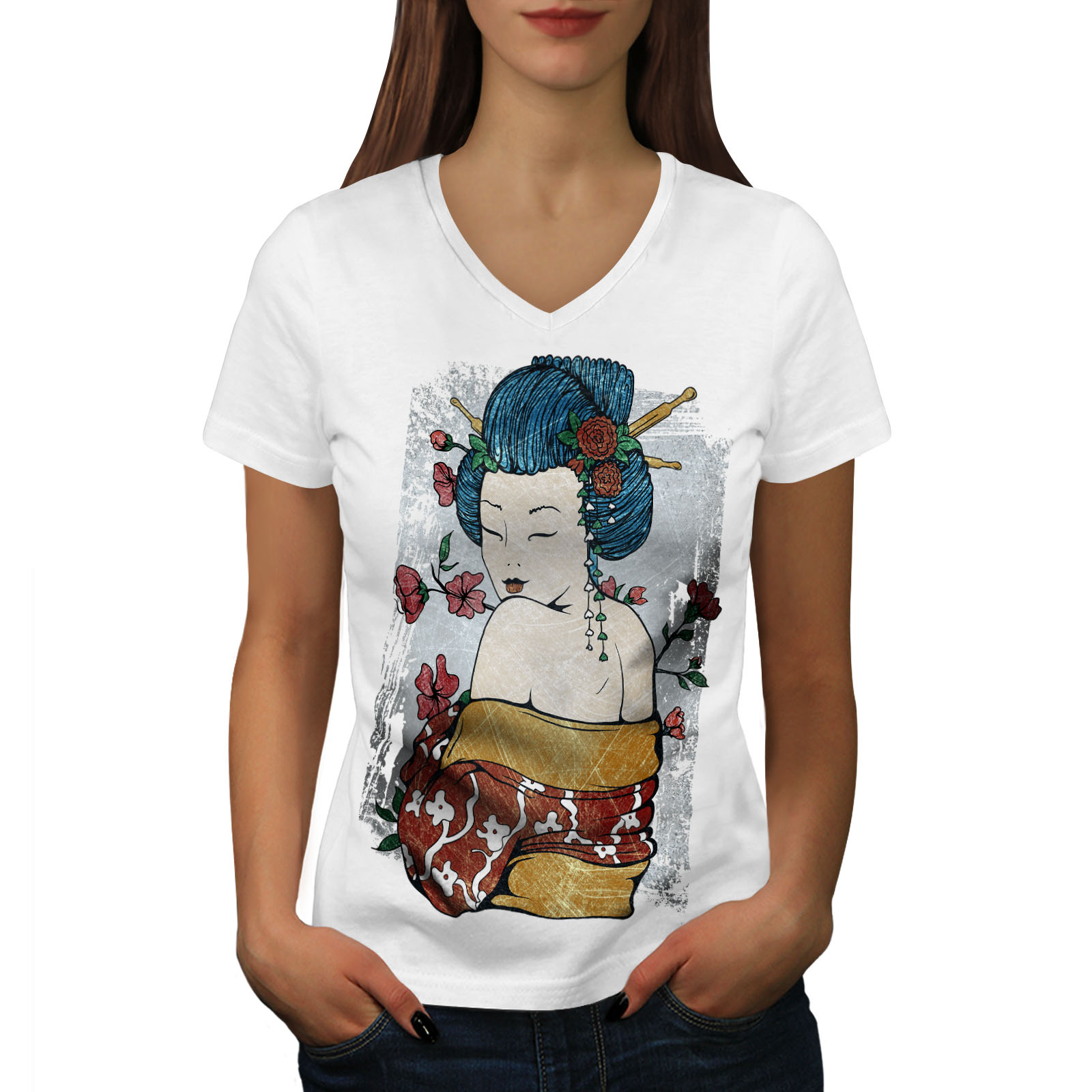 Wellcoda-Japan-Woman-Beauty-Womens-V-Neck-T-shirt-Oriental-Graphic-Design-Tee thumbnail 7