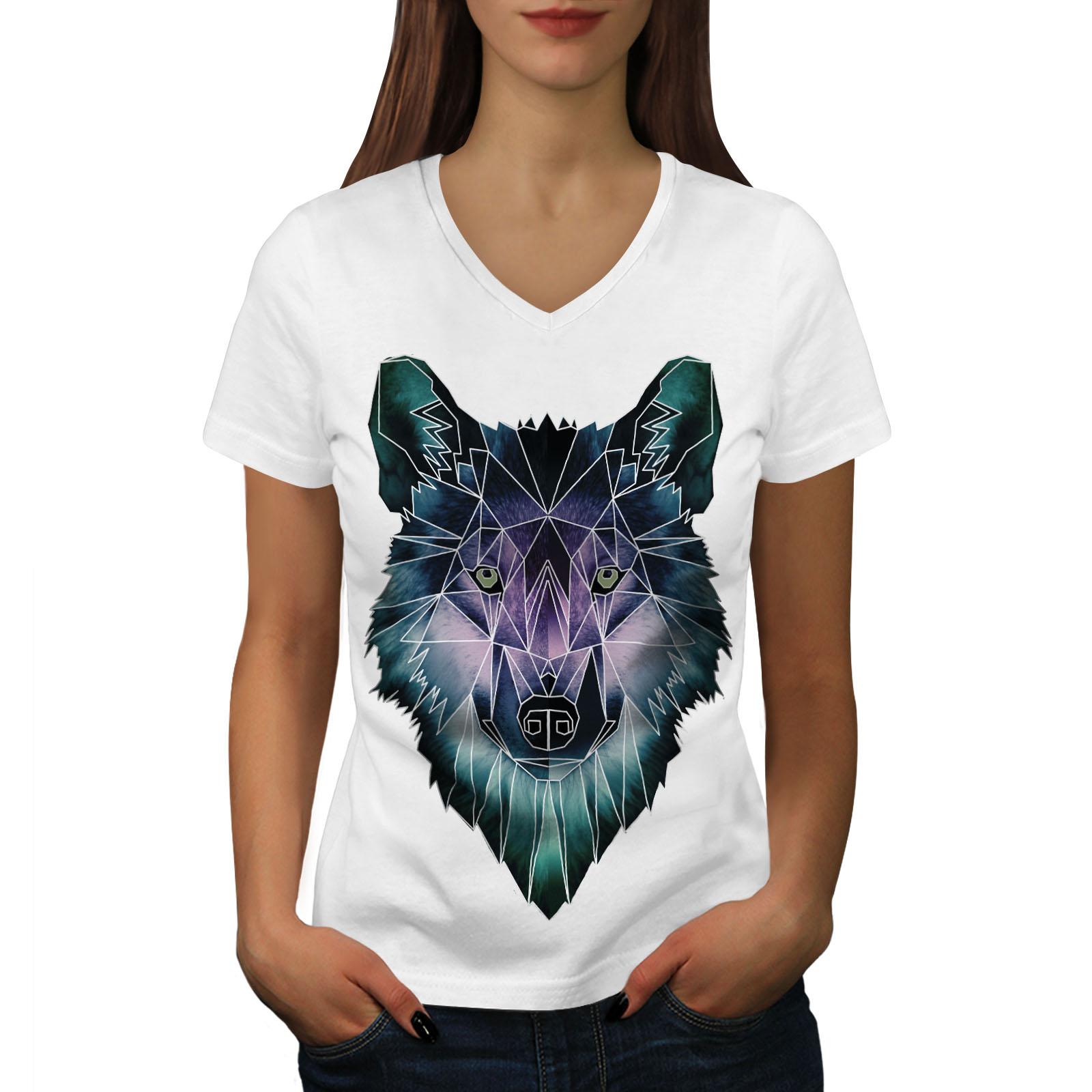 Wellcoda-Psychodelic-Wolf-Womens-V-Neck-T-shirt-Crystal-Graphic-Design-Tee thumbnail 7