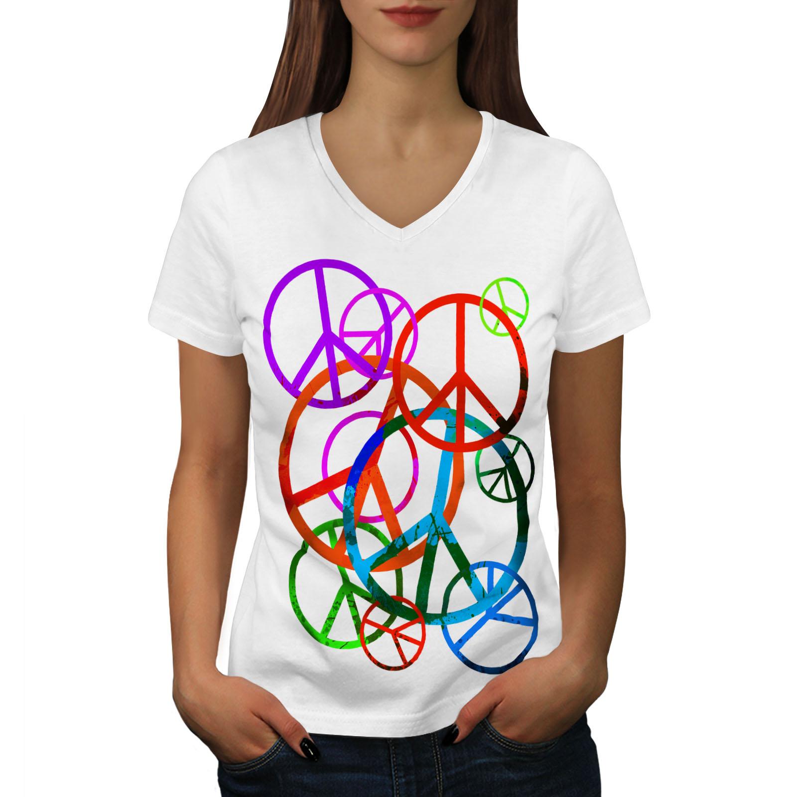 Wellcoda-solo-amore-e-Peace-Da-Donna-V-Neck-T-shirt-Hippie-Graphic-Design-Tee miniatura 7