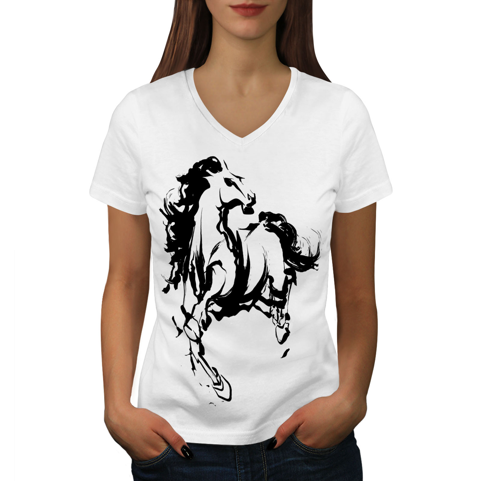 Wellcoda Horse Cool Printed Womens V-Neck T-shirt Wild Graphic Design Tee