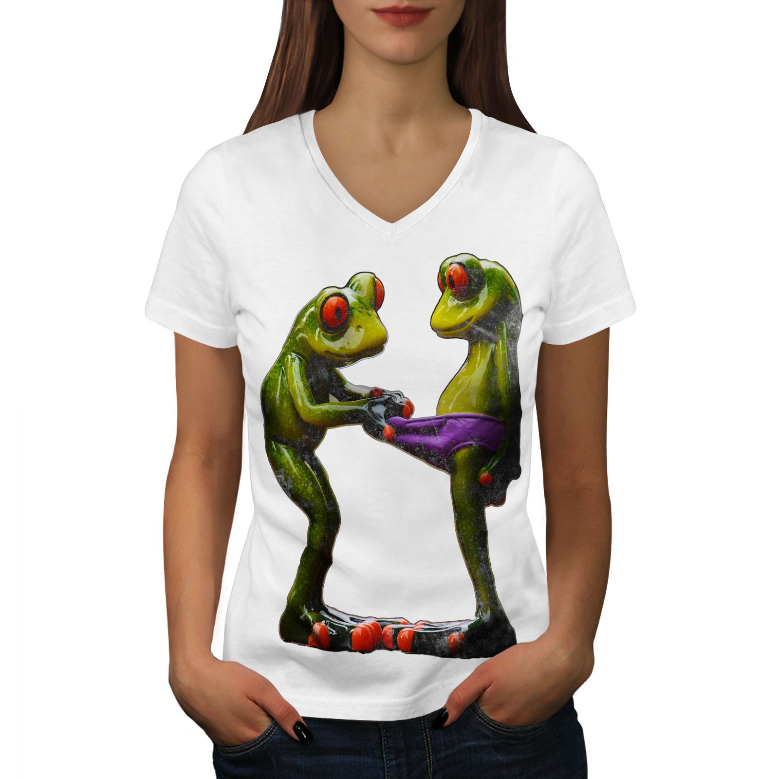 Wellcoda-RANE-Cool-scherzo-da-Donna-V-Neck-T-shirt-Biancheria-Intima-Design-Grafico-Tee miniatura 7
