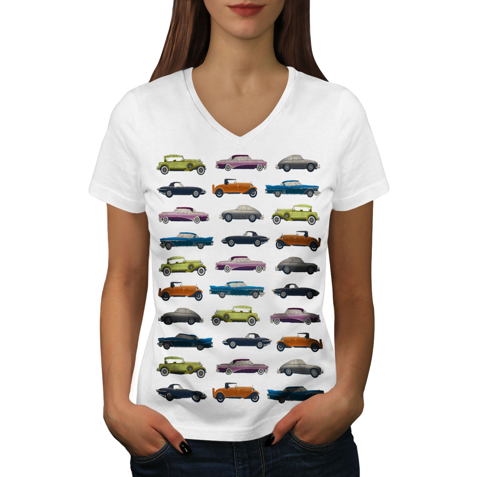 Wellcoda-Classic-Old-Pattern-Car-Womens-V-Neck-T-shirt-Retro-Graphic-Design-Tee thumbnail 7