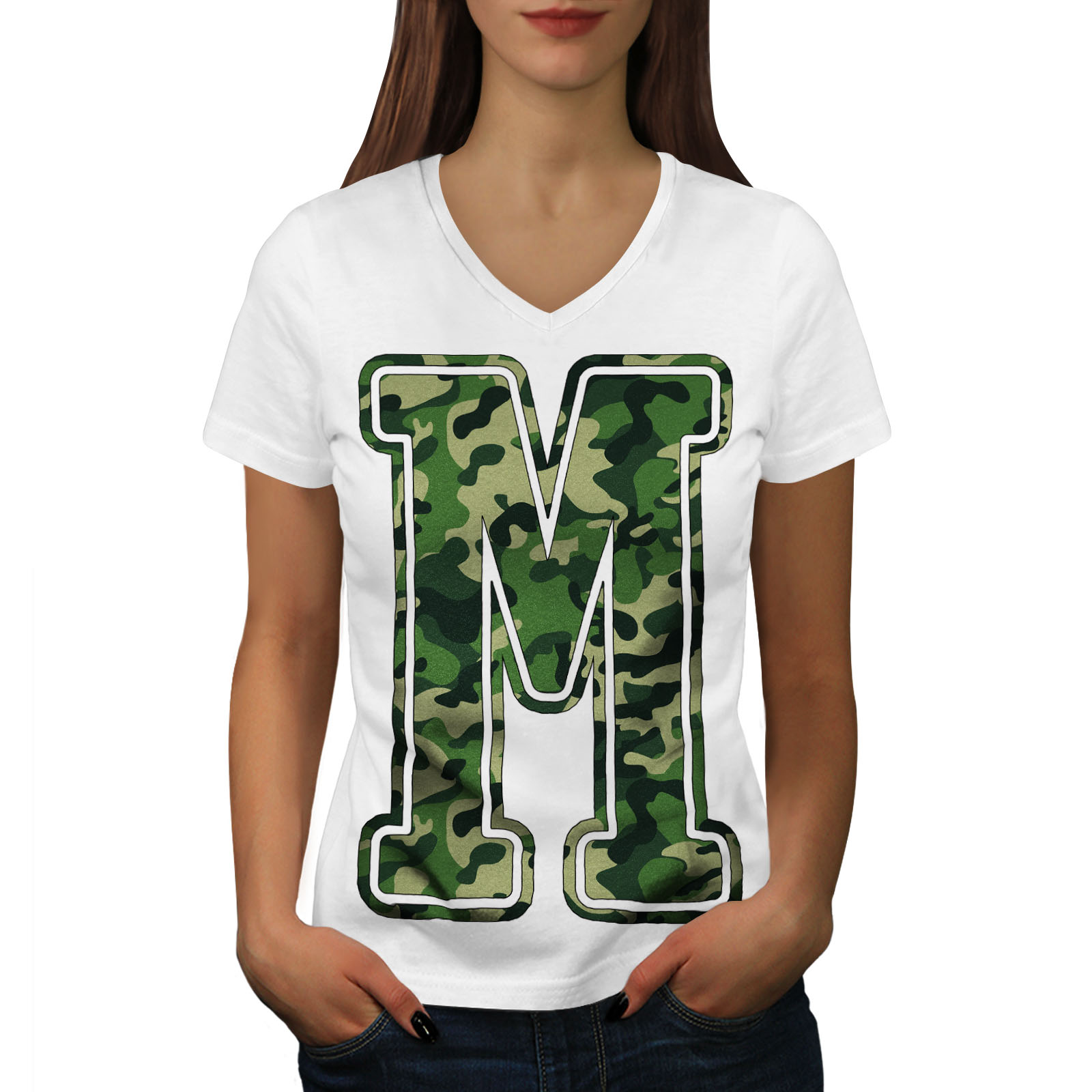 Wellcoda M for Millitary Womens V-Neck T-shirt, Camouflage G