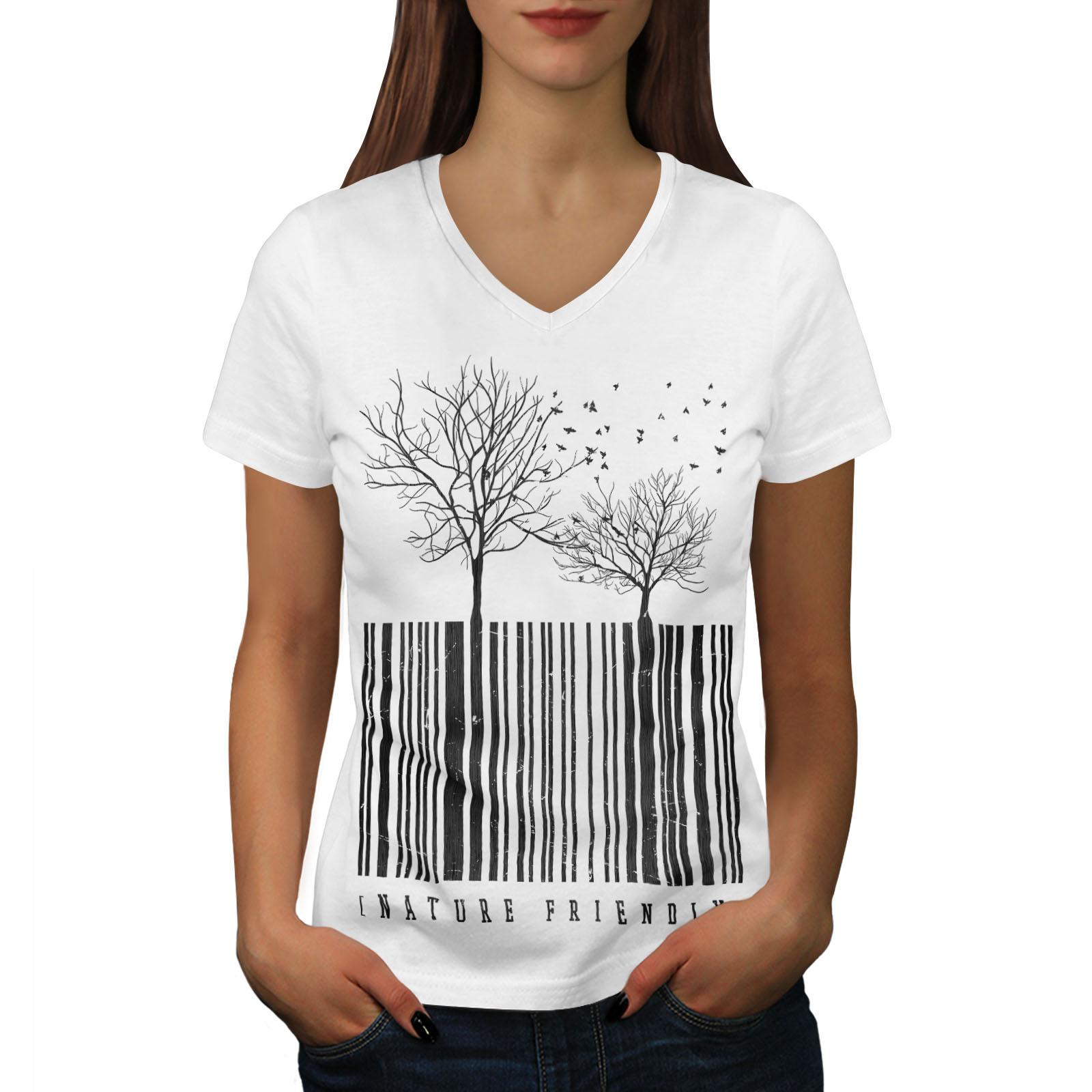 Wellcoda Natura Amichevole Codice Da Donna V-neck T-shirt, Tree Design Grafico Tee-mostra Il Titolo Originale