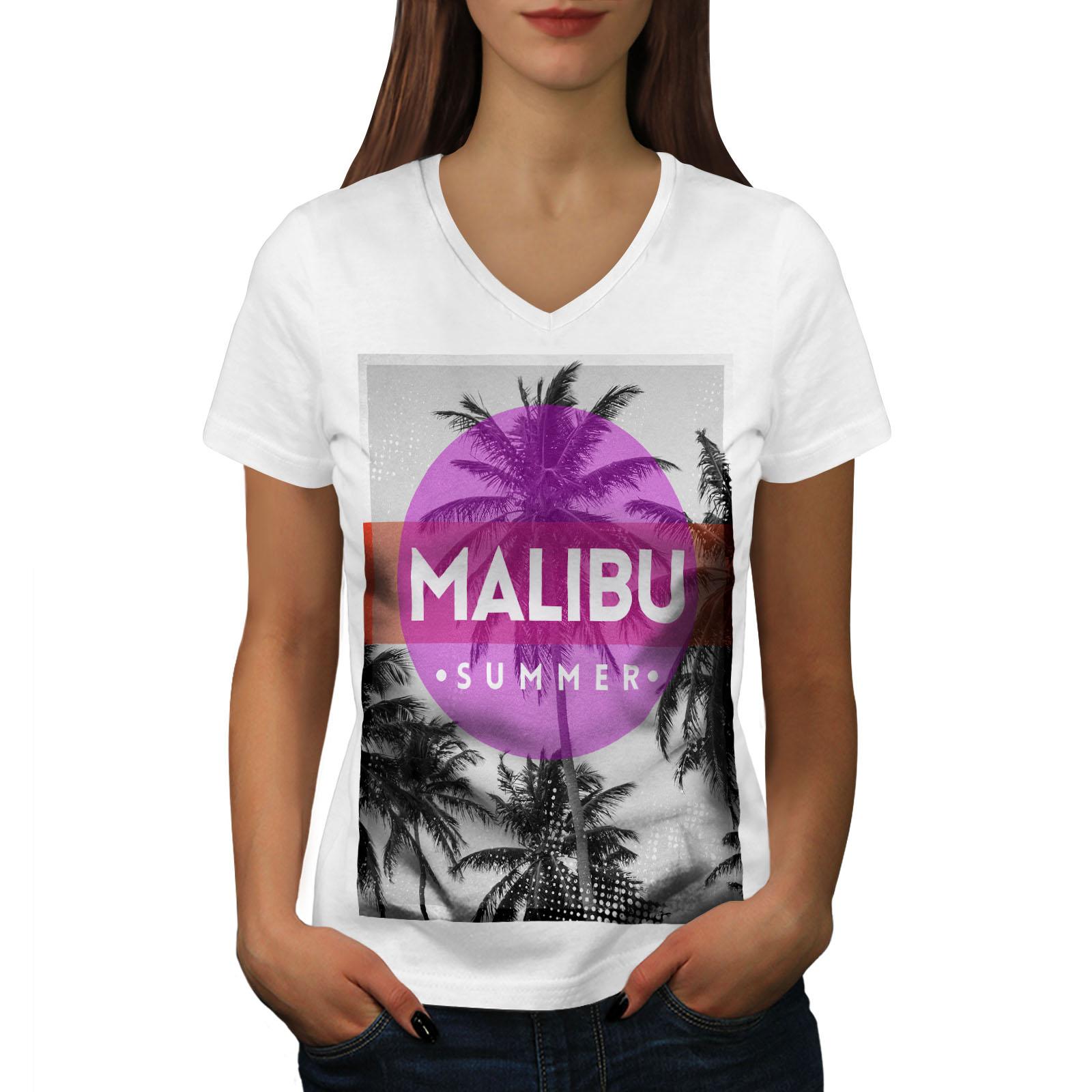 California Graphic Design Tee Wellcoda Malibu Summer Sun Womens V-Neck T-shirt