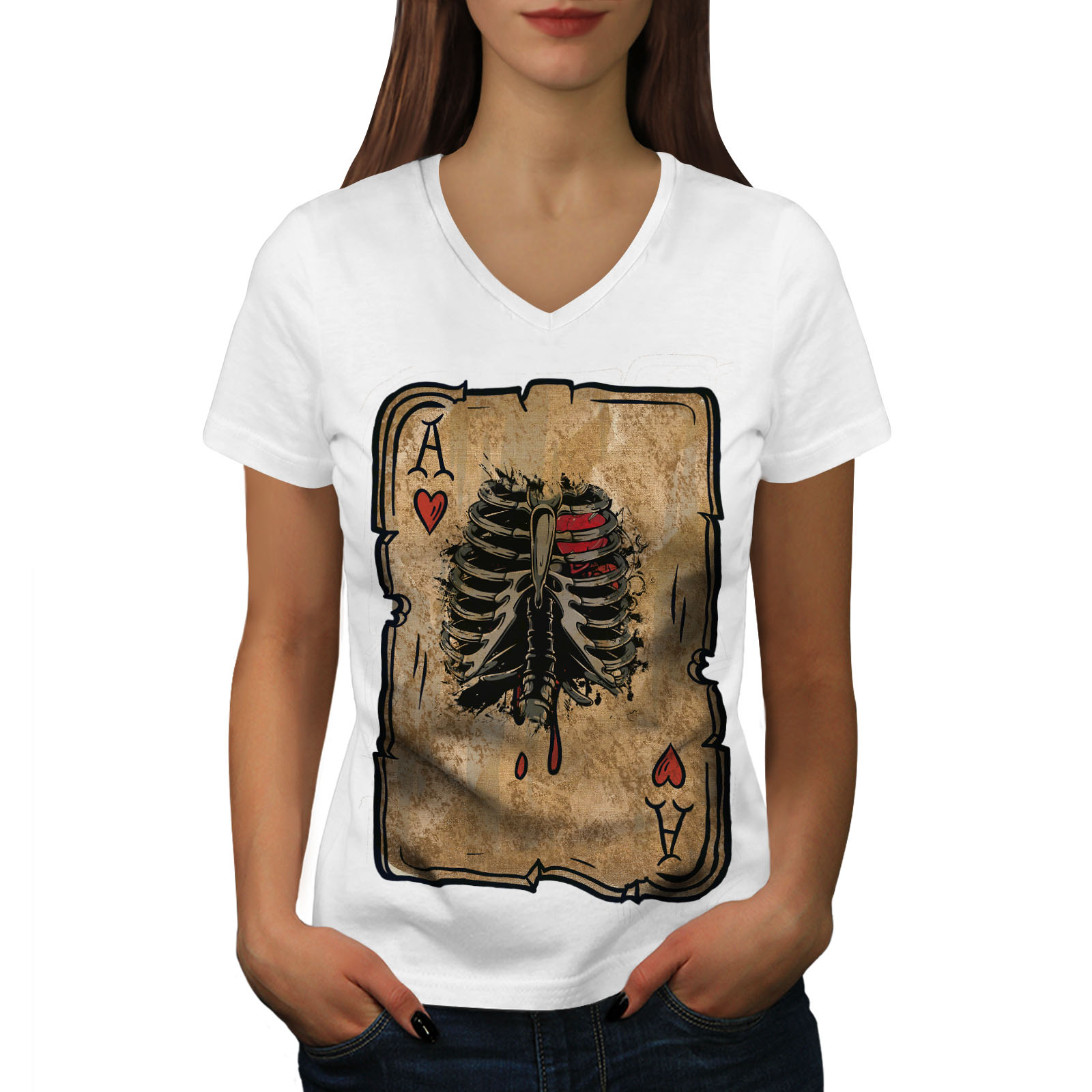 Wellcoda-Poker-Cartes-Skelet-Femme-T-Shirt-col-V-cage-thoracique-conception-graphique-Tee miniature 7