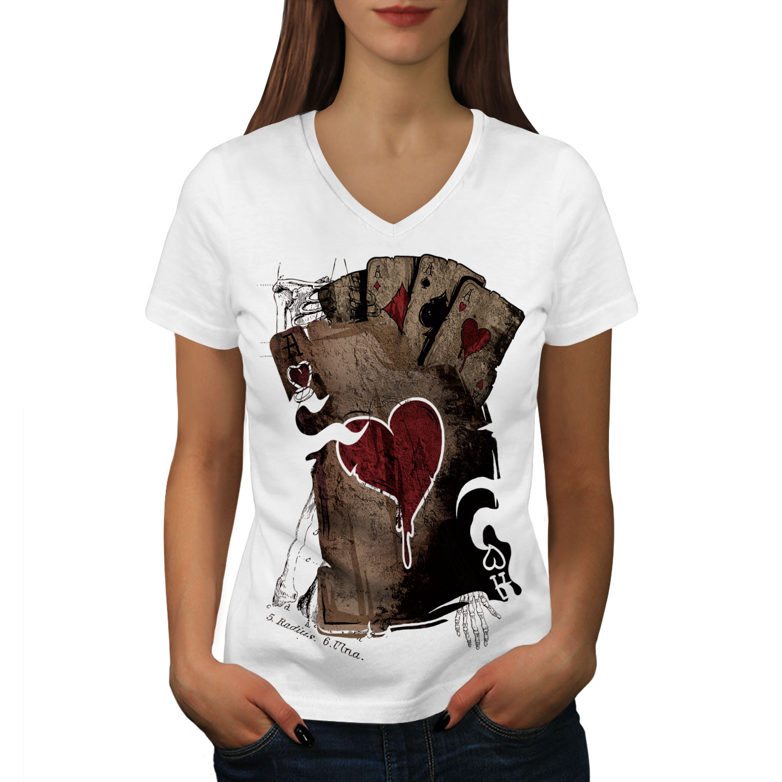 Wellcoda-Poker-Gamble-Squelette-Femme-T-Shirt-col-V-effrayant-conception-graphique-Tee