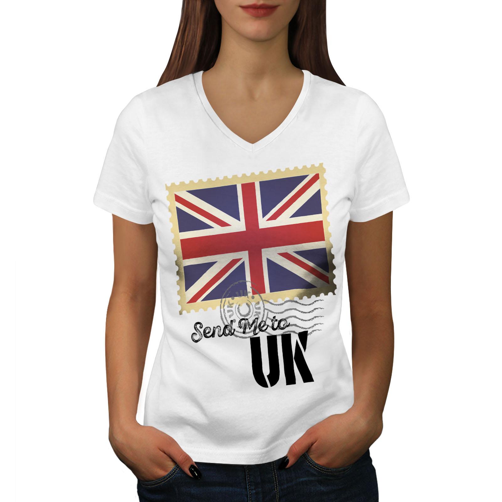Wellcoda-UK-Flag-Tourist-Womens-V-Neck-T-shirt-England-Graphic-Design-Tee thumbnail 7