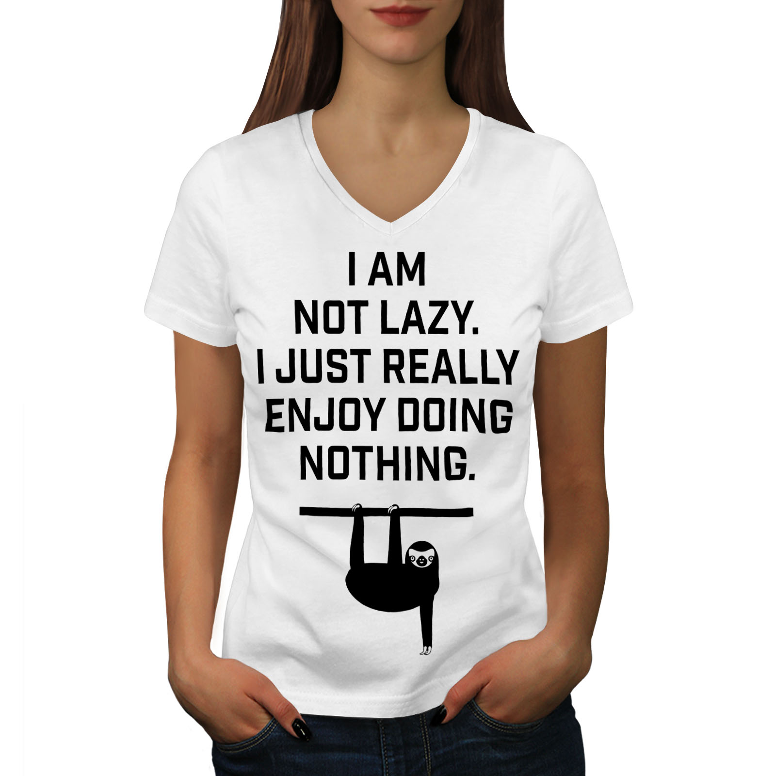 Wellcoda-Sloth-Lazy-Joke-Funny-Womens-V-Neck-T-shirt-Monkey-Graphic-Design-Tee thumbnail 7